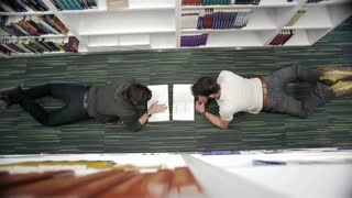 top view of students in school library