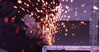 wheel grinding  on steel structure and making sparks