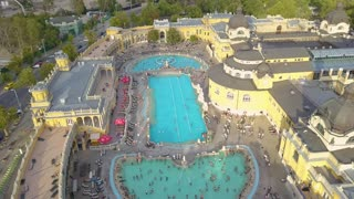 Aerial shot of swimming pool Gellert spa and bath Budapest, Hungary. Aerial view