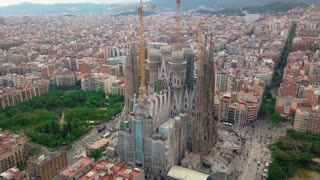 Aerial view of Barcelona city at Sagrada Familia neighbourhood in Barcelona, Spain.