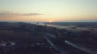 Aerial view of church at sunrise. 4K UHD.