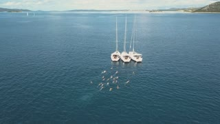 Aerial view of three sailing yachts are connected, near beautiful Islands. Beautiful clouds in the background. Luxury yachts in the sea. People swim near yachts