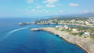 Cruise ship sailing across The Mediterranean sea - Aerial footage