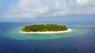 Maldives, Aerial view of Maldives Island, Amazing beautiful sand island in the Indian Ocean ,Tropical beach and sea, Atoll of Maldives,4K UHD,White sand beach