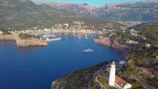 Port de Soller aerial view, Majorca. Mediterranean sea.