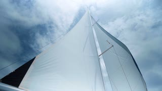 Sailing in the wind. Full sails, very strong wind. Ocean race, real adventure. Storm day. Sun sails, and adventure.