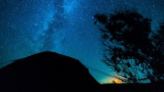 Stars Time Lapse. Camping under the stars. Timelapse stars moving over trees and tent