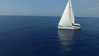 Yacht in the blue sea. Aerial view