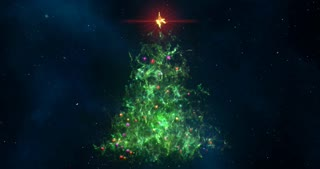 Computer generated Nebula in a form of Christmas Fir-Tree background seamless loop in 4k resolution.