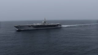 High quality animation of the Aircraft Carrier in the sea.