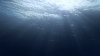 High quality seamless animation of ocean waves from underwater with Sun rays shining through.