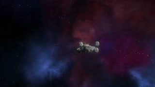 Spaceship flying in deep space. Production Quality Footage
