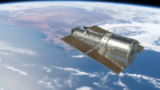 Hubble Space Telescope Floating Above Earth. Production Quality Footage in ProRes HQ codec, 25 FPS.