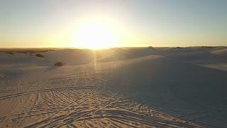 Aerial Desert Dune Sunset Shot