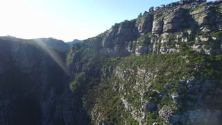 Aerial Fly Over Shot Above Table Mountain