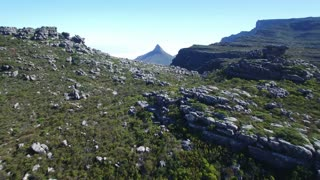 Aerial Flying Towards Lion's Head Over Table Mountain
