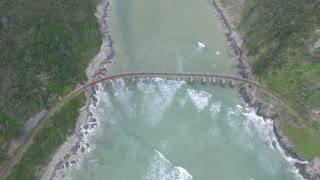 Aerial of Bridge Across Ocean