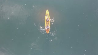 Aerial of Rowing into Beautiful Sunrise