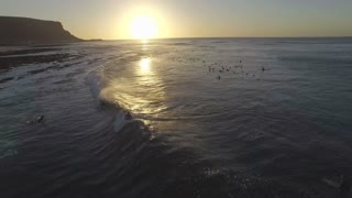 Aerial of Sunset Surfing in Elands Bay