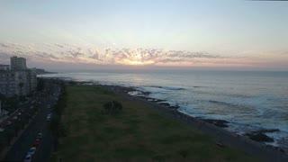 Aerial Sea Point Promenade Beautiful Cloudy Sunset