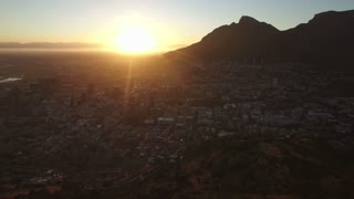 Aerial Shot of Cape Town City at Sunrise