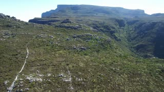Aerial View Flying Over Table Mountain to Reveal Lion's Head