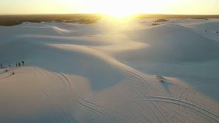 Aerial View of Desert Dunes at Sunset