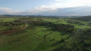 Aerial View of Green Field in Tranquil Country Side in South Africa