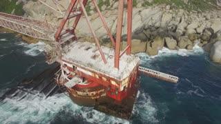 Explorer on BOS 400 Ship Wreck Aerial Revolving Shot