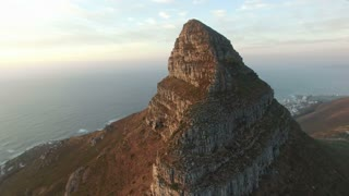Lion's Head Aerial Orbital Shot at Sunset in Cape Town, South Africa