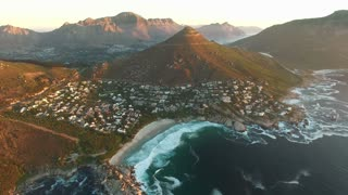Llandudno Beach Aerial Panning Shot in Cape Town