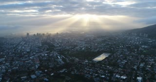 Aerial of Cape Town with Sun Beams over City