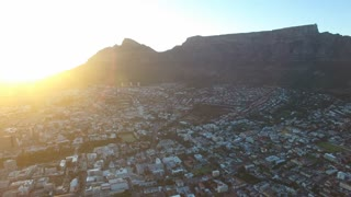Aerial of Cape Town with Table Mountain Sunrise