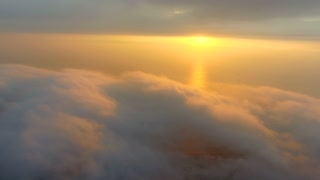 Aerial of Clouds over City of Cape Town at Sunset