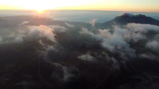 Aerial of Cloudy Orange Sunset