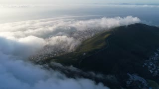 Aerial of Cloudy Signal Hill Cape Town