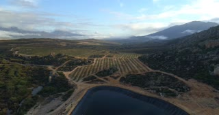 Aerial of Dam in Cape Town, South African Countryside