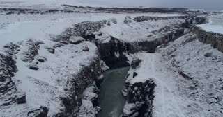 Aerial of Gullfoss in South Iceland Golden Circle