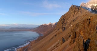Aerial of Icelandic Coastal Mountains at Sunset