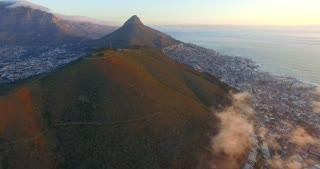 Aerial of Lion's Head and Signal Hill in Cape Town during Sunset