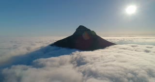 Aerial of Lion's Head Shrouded by Cloud at Sunrise
