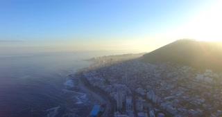 Aerial of Misty Cape Town City Coastal Sunrise