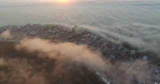 Aerial of Misty Coastal Sunset in Cape Town