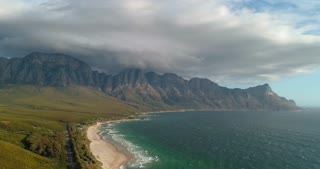 Aerial of South African Mountains along Coastal Road