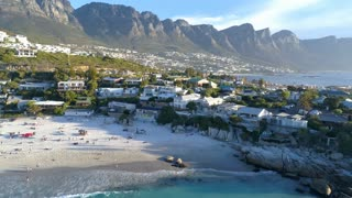 Aerial of Table Mountain and Clifton Beach Cape Town