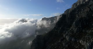 Aerial of Table Mountain during Cloudy Sunrise
