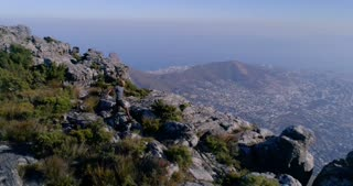 Aerial of Trail Runner on Table Mountain in Cape Town