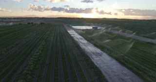 Aerial over Farm Dam at Sunrise