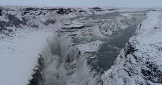Aerial Over Gullfoss Waterfall in Golden Circle Iceland
