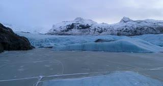 Aerial Over Ice Lake at Vatnajokull Glacier in Iceland
